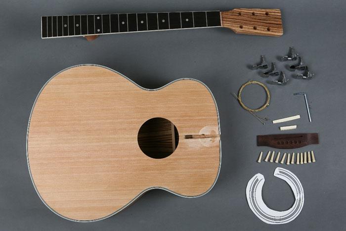 build your own acoustic guitar builder kit spruce top zebra back sides